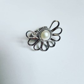 Sterlingsilver ring and pearl HalfpastLove, Bijuterii de argint lucrate manual, handmade