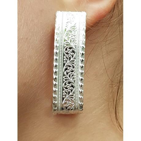 Sterling silver earrings LongandPetals, Bijuterii de argint lucrate manual, handmade