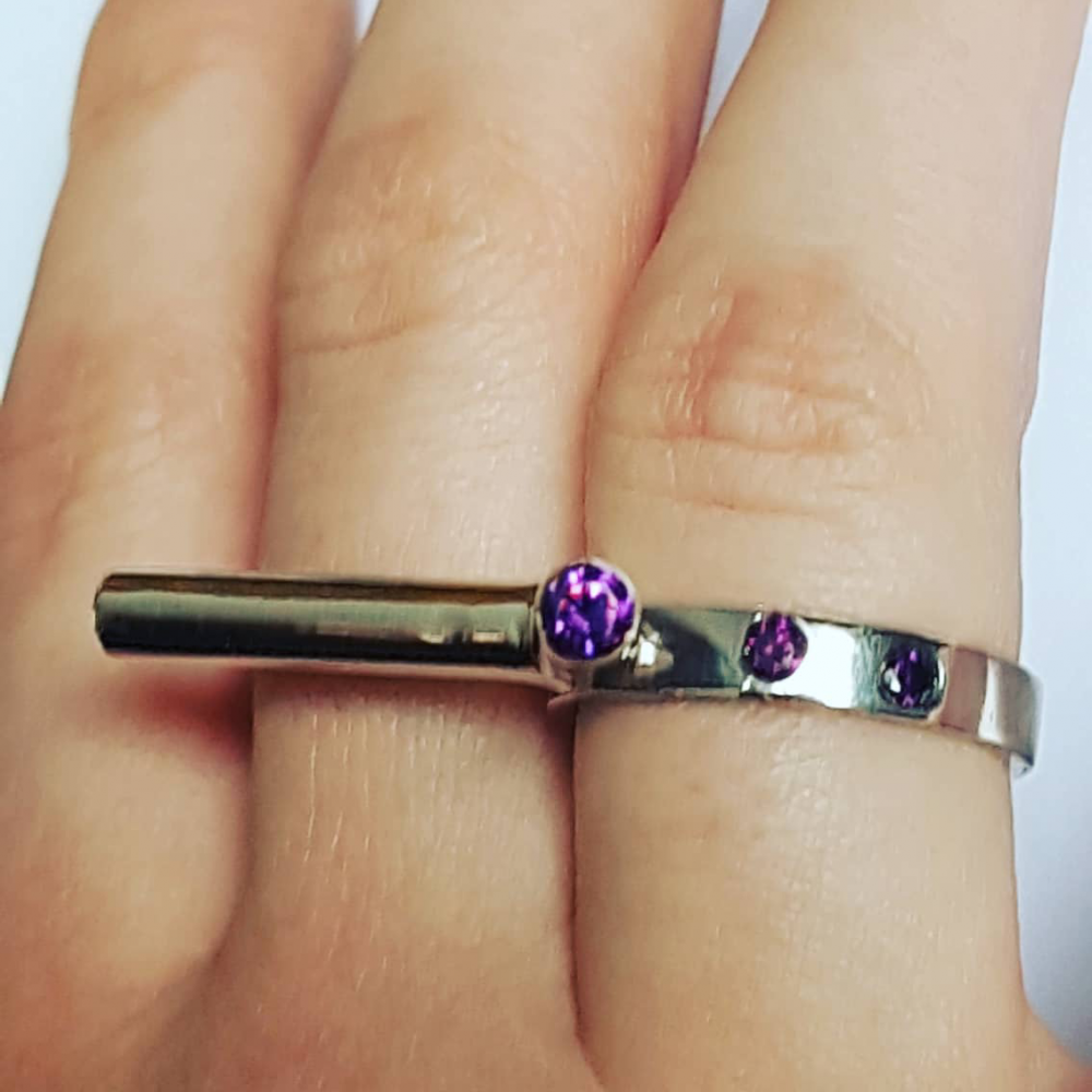 Sterling silver ring Purple Fables
