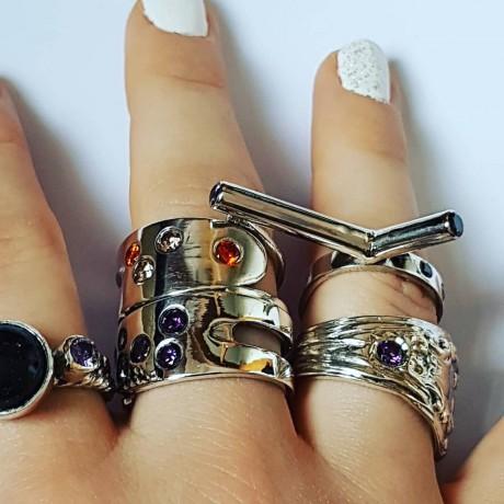 Sterling silver ring Purple Fables, Bijuterii de argint lucrate manual, handmade