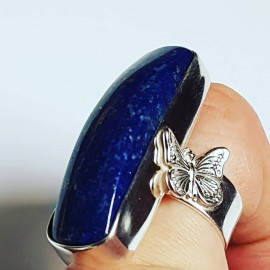Massive Sterling silver ring with natural lapislazuli Butterflowers
