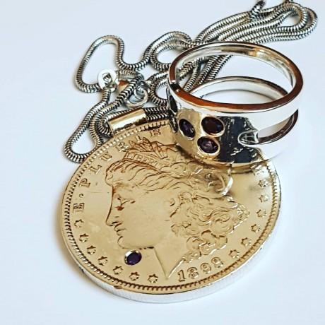 Silver ring Purple Clusters, Bijuterii de argint lucrate manual, handmade