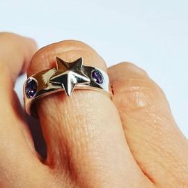 Sterling silver ring Pierced Glowwork