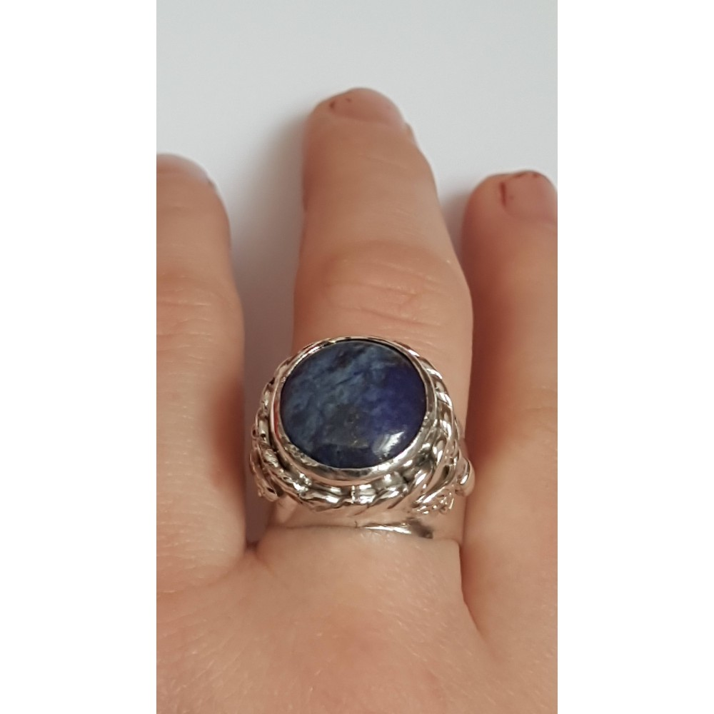 Sterling silver ring with natural lapislazuli Blue Magot