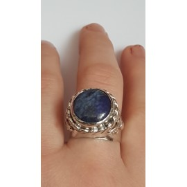 Sterling silver ring with natural lapislazuli Blue Magot, Bijuterii de argint lucrate manual, handmade