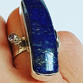 Sterling silver ring with natural lapislazuli Athanor, Bijuterii de argint lucrate manual, handmade