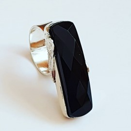 Sterling silver ring with natural onyx stone Top Wing