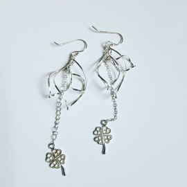 Sterling silver earrings Dancin' Clover, Bijuterii de argint lucrate manual, handmade