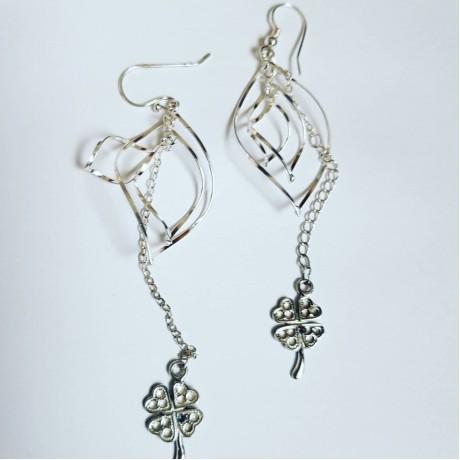 Sterling silver earrings Dancin' Clover, Bijuterii de argint lucrate manual, handmade