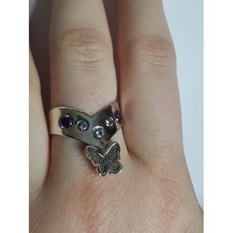 Sterling silver ring Spring Butterflyin', Bijuterii de argint lucrate manual, handmade