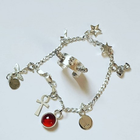 Sterling silver bracelet RedDot, Bijuterii de argint lucrate manual, handmade