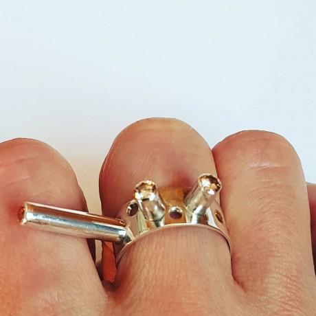 Sterling silver ring and citrines Citrinify, Bijuterii de argint lucrate manual, handmade