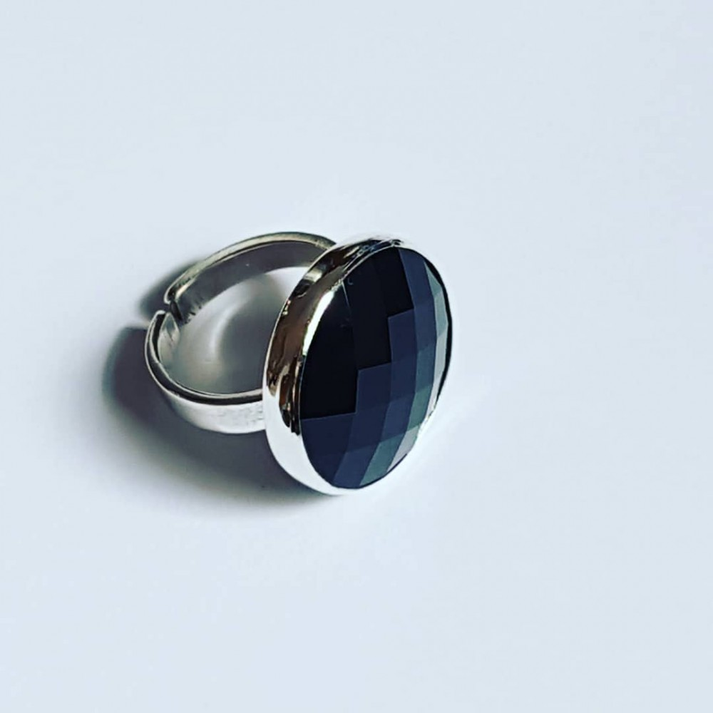 Sterling silver ring Black Sun