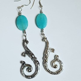 Sterling silver earrings LoveHooks, Bijuterii de argint lucrate manual, handmade