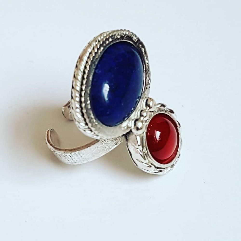 Sterling silver ring, lapis lazuli & carnelian Double Twist