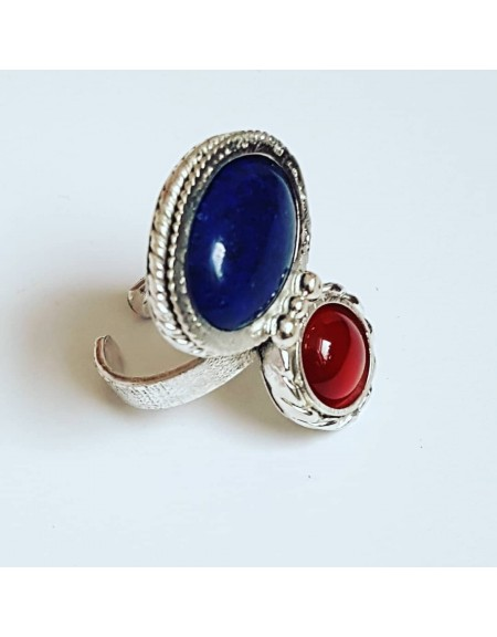 Sterling silver ring, lapis lazuli & carnelian Double Twist, Bijuterii de argint lucrate manual, handmade