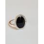 Inel argint Ag925 si cristal Swarovski negru fațetat Blackie