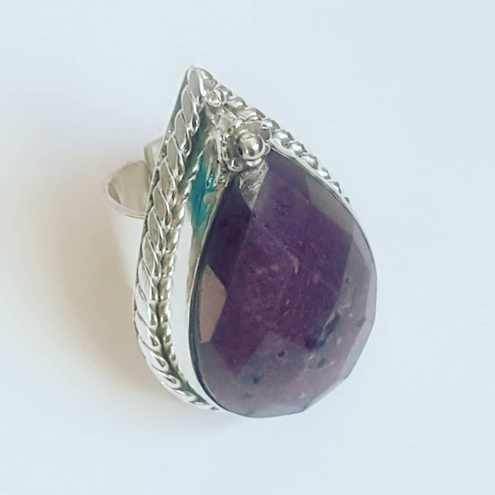 Massive Sterling silver ring with natural ruby