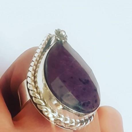 Massive Sterling silver ring with natural ruby, Bijuterii de argint lucrate manual, handmade