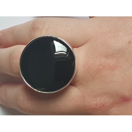 Handmade ring made of solid Ag925 silver and natural black onyx Black Moss, Bijuterii de argint lucrate manual, handmade