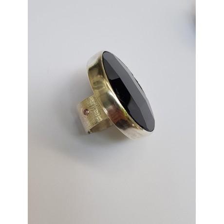 Sterling silver ring with natural onyx stone Bossy Blacks, Bijuterii de argint lucrate manual, handmade