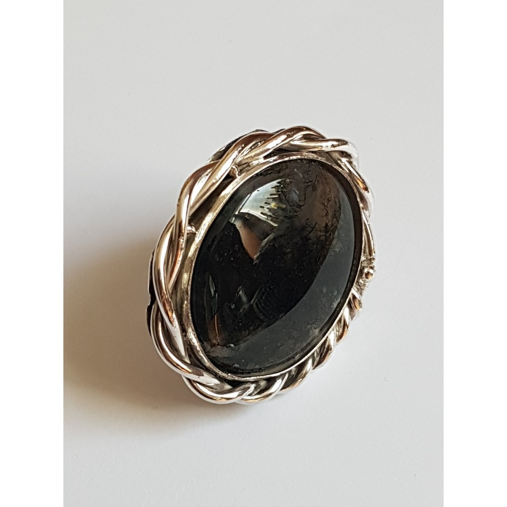 Sterling silver ring with natural agate moss