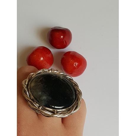 Sterling silver ring with natural agate moss, Bijuterii de argint lucrate manual, handmade
