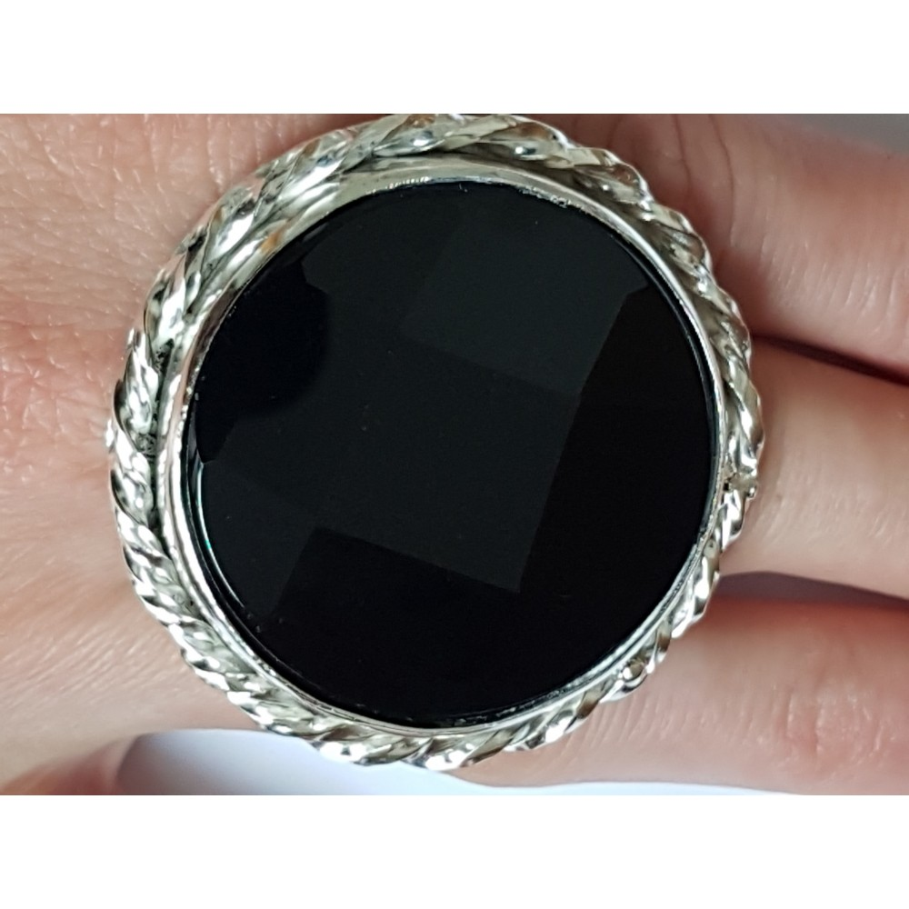 LARGE handmade ring made of solid Ag925 silver and natural Titan Onyx
