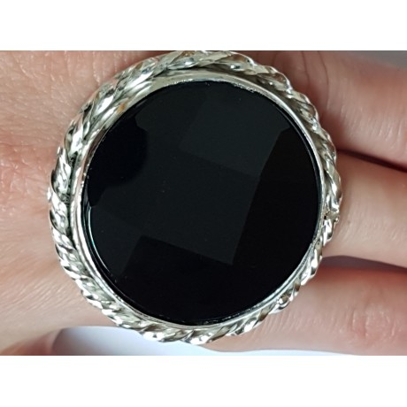 LARGE handmade ring made of solid Ag925 silver and natural Titan Onyx, Bijuterii de argint lucrate manual, handmade