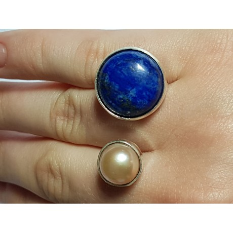 Handmade ring in Ag925 silver, natural lapis lazuli and cultured pearl Twice Rise, Bijuterii de argint lucrate manual, handmade