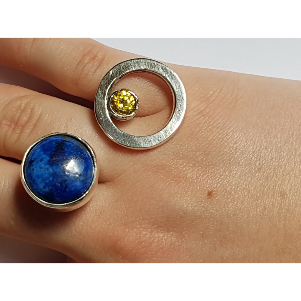 Ring made entirely by hand in Ag925 silver, citrine and lapis lazuli natural Amphybious