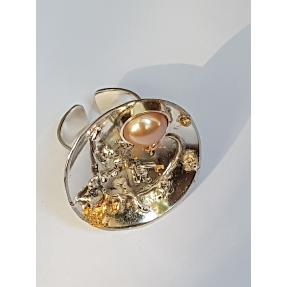 Handmade ring in solid Ag925 silver and Spellbound Jungle cultured pearl