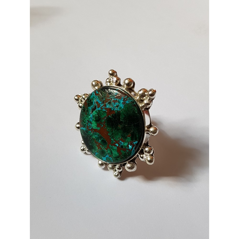 Handmade ring made entirely of solid Ag925 silver and Sunvice druzy chrysocola
