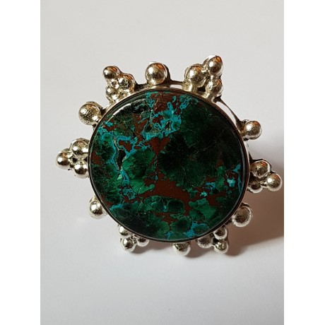 Handmade ring made entirely of solid Ag925 silver and Sunvice druzy chrysocola, Bijuterii de argint lucrate manual, handmade