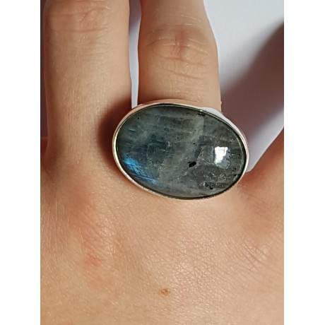 Ring made entirely by hand in solid Ag925 silver and Lunaria natural moonstone, Bijuterii de argint lucrate manual, handmade