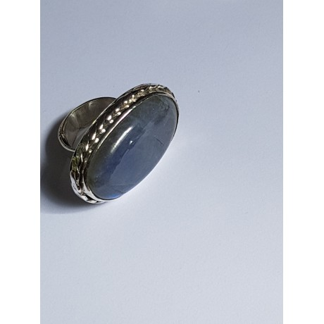 Ring made entirely by hand in solid Ag925 silver and natural moonstone Selenaria, Bijuterii de argint lucrate manual, handmade
