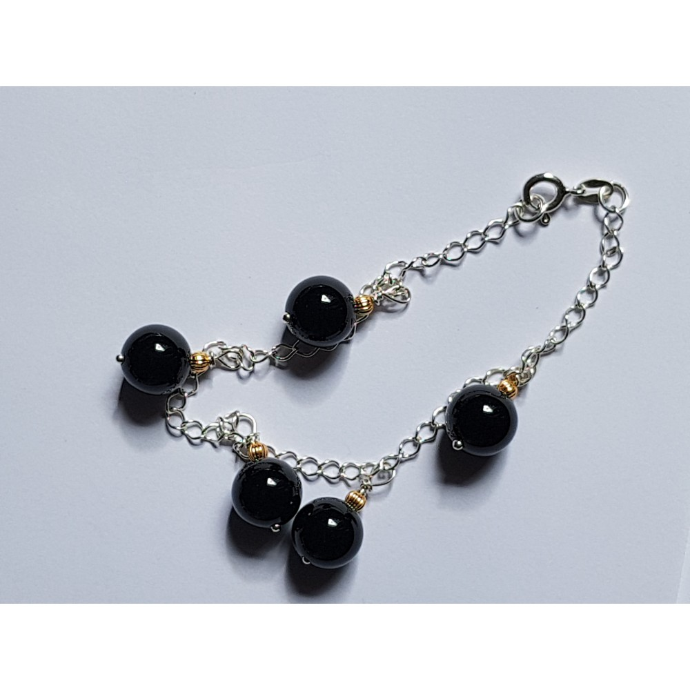 Ag925 silver bracelet and natural black onyx