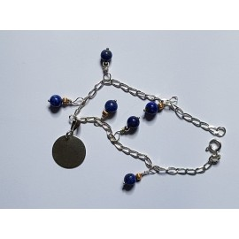 Ag925 furniture silver bracelet and natural lapis lazuli