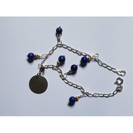 Ag925 furniture silver bracelet and natural lapis lazuli, Bijuterii de argint lucrate manual, handmade