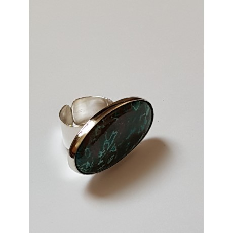 Ring made entirely by hand in Ag925 silver and natural chrysocola Green Proposal, Bijuterii de argint lucrate manual, handmade