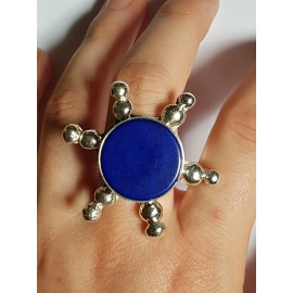 Ring made entirely by hand in solid Ag925 silver and natural lapis lazuli Blue Helm