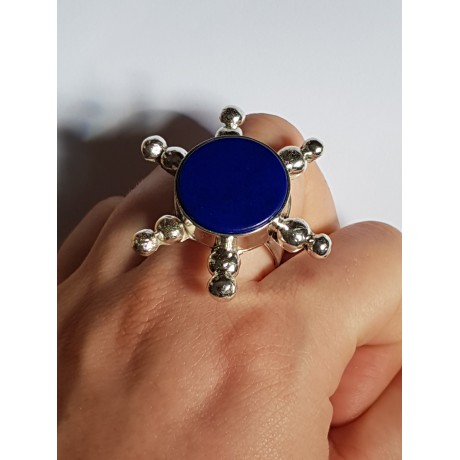 Ring made entirely by hand in solid Ag925 silver and natural lapis lazuli Blue Helm, Bijuterii de argint lucrate manual, handmade