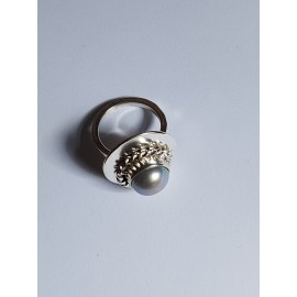 Engagement ring made entirely by hand in Ag925 silver and Miss Pearlie oil gray pearl, Bijuterii de argint lucrate manual, handmade