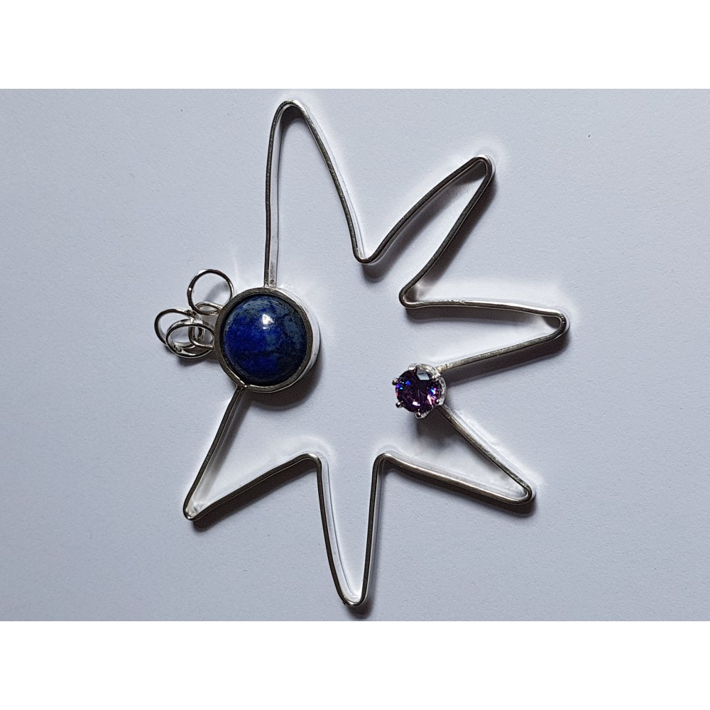 Handmade pendant made entirely of Ag925 silver, natural lapis lazuli and amethyst