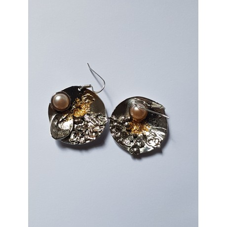 Earrings made entirely by hand in Ag925 silver and dusty pink pearl Sweet Imbroglio, Bijuterii de argint lucrate manual, handmade