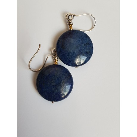 Handmade earrings in Ag925 silver and natural lapis lazuli Lappis, Bijuterii de argint lucrate manual, handmade