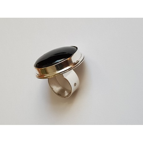 Large ring made entirely by hand in solid Ag925 silver and natural black onyx VelvetfortheMind, Bijuterii de argint lucrate manual, handmade