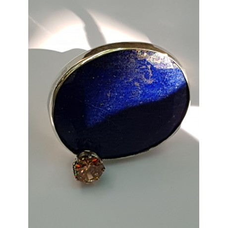 LARGE ring made entirely by hand in solid Ag925 silver, lapis lazuli and citrine, Bijuterii de argint lucrate manual, handmade