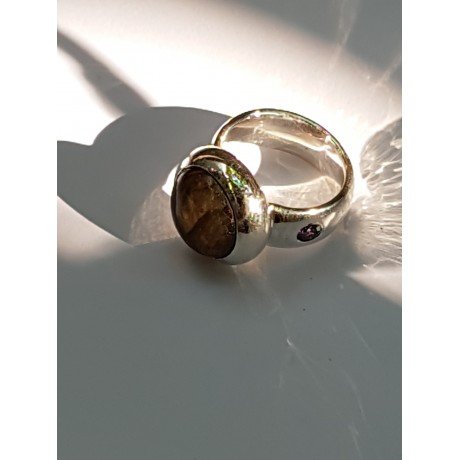 Ring made entirely by hand in Ag925 silver, labradorite and amethyst, Bijuterii de argint lucrate manual, handmade