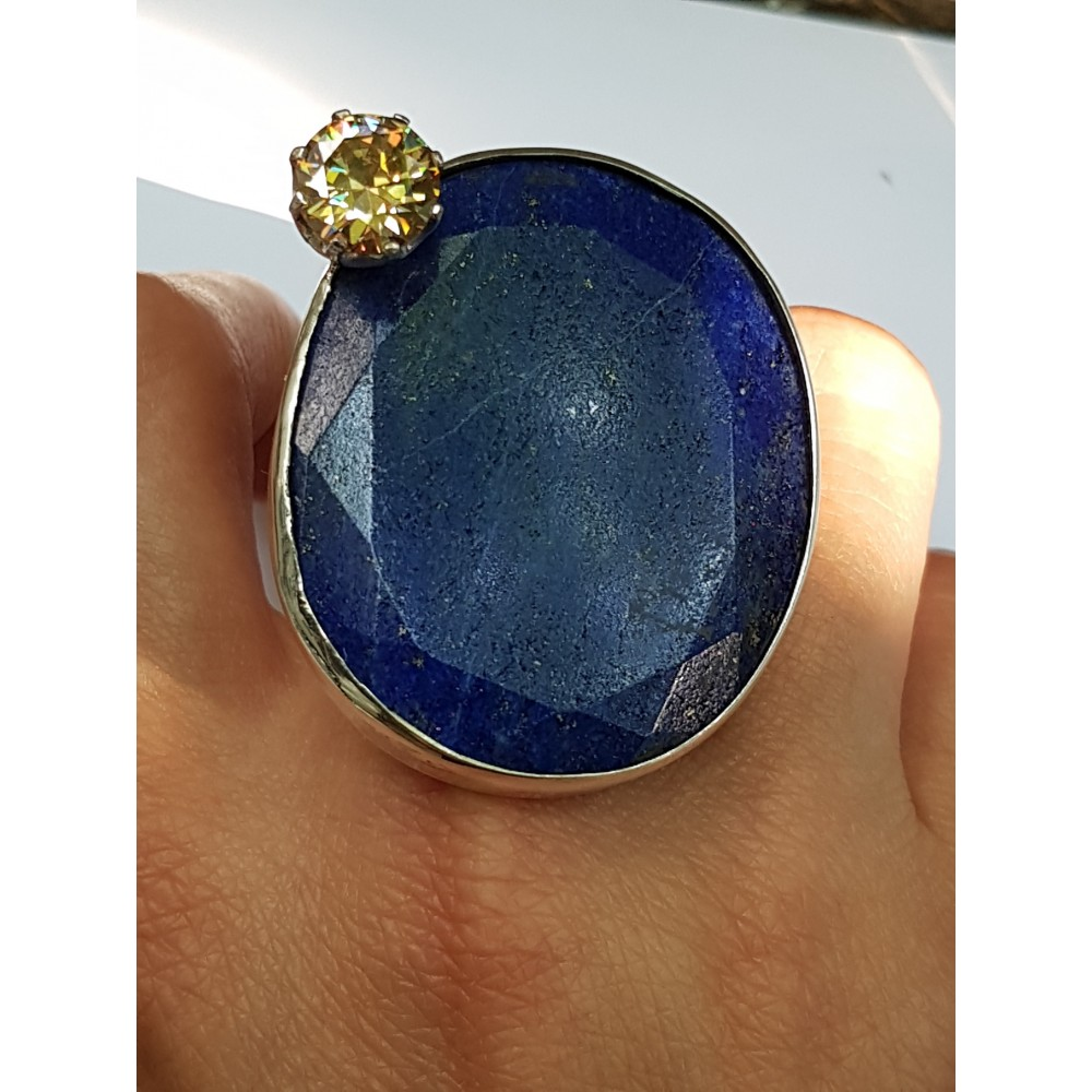 LARGE ring made entirely by hand in solid Ag925 silver, lapis lazuli and citrine